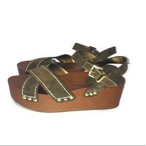 Sam Edelman Brylee Moss Green Platform Sandal